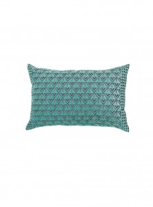 Coussin velours turquoise